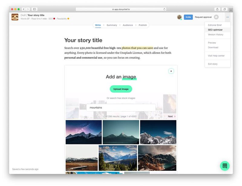 How to add images to your long read using the Unsplash integration in the StoryChief editor