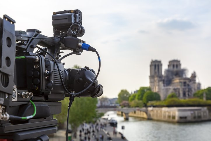 Close-up image of a television professional rig broadcasting from Notre Dame Cathedral surroundings in Paris after the fire which destroyed the roof of the building on 15 April 2019