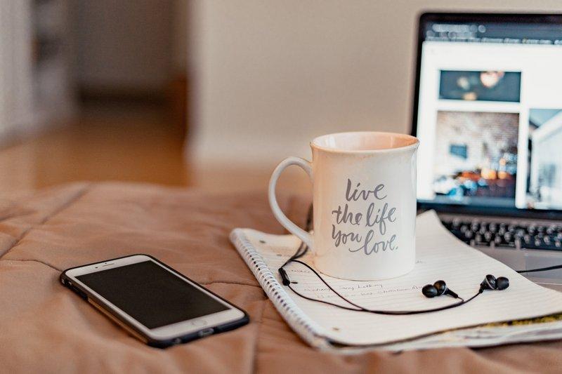 Inspirational quote on a mug.