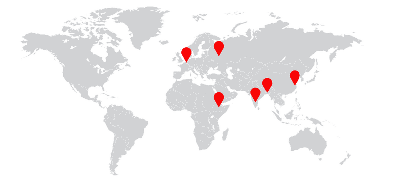 Worldmap ERVE GROUP