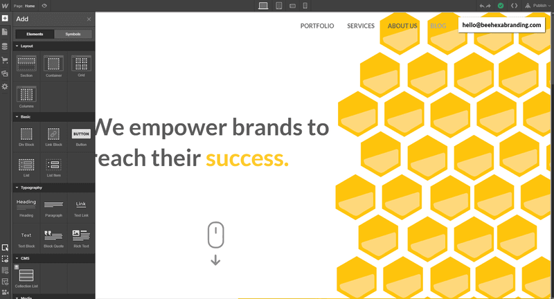 webflow and bee hexa branding