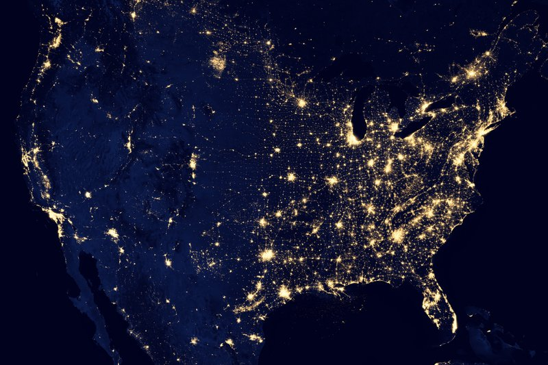 United States seen from orbit - tech