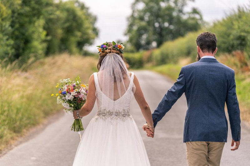 making a great wedding photo album - bride and groom holding hands