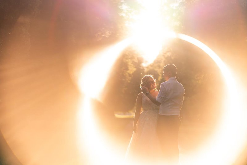 making a great wedding photo album - artistic photo of bride and groom