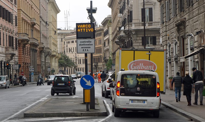 Traffic restriction zone in Rome, Italy