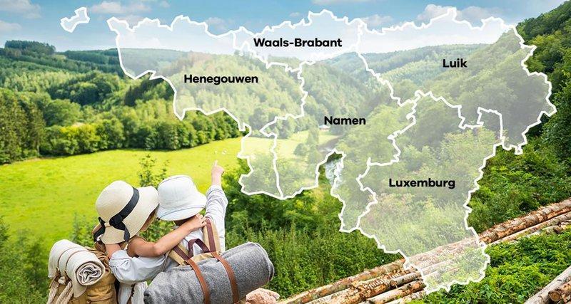 Wallonië en de Ardennen kaart provincies (c) WBT