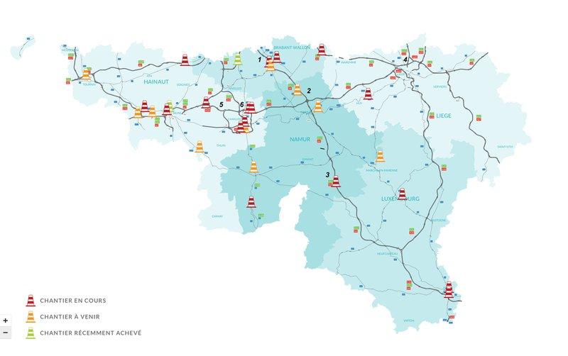 Travaux routiers en Wallonie en 2021